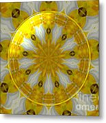 Daffodil And Easter Lily Kaleidoscope Under Glass Metal Print