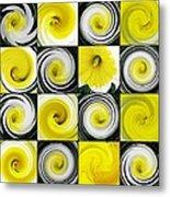 Daffodil Spring Mosaic Metal Print