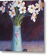 Daffodils And Cherries Metal Print