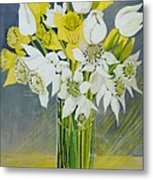 Daffodils And White Tulips In An Octagonal Glass Vase Metal Print