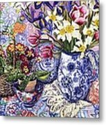 Daffodils Tulips And Iris In A Jacobean Blue And White Jug With Sanderson Fabric And Primroses Metal Print