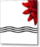 Dahlia Flower And Wavy Lines Triptych Canvas 3 - Red Metal Print by Natalie Kinnear