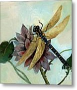 Dahlia With Dragonfly Resting Metal Print