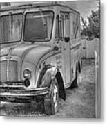 Dairy Truck - Old Rosenbergers Dairies - Black And White Metal Print