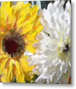 Daisies And Sunflowers - Impressionistic Metal Print