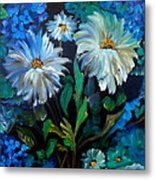 Daisies At Midnight Metal Print