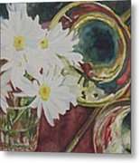 Daisies Bold As Brass Metal Print