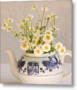 Daisies In A Teapot Metal Print