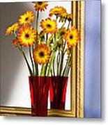 Daisies In Red Vase Metal Print