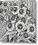 Daisies In Relief Metal Print