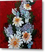 Daisies Lilacs And Forget Me Nots Metal Print