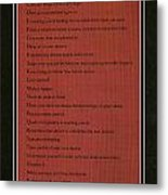 Dalai Lama A To Zen Of Life On Red Square Typography Metal Print
