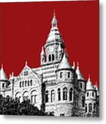 Dallas Skyline Old Red Courthouse - Dark Red Metal Print by DB Artist
