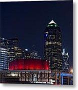Dallas Skyline Arts District At Night Metal Print