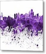 Dallas Skyline In Purple Watercolor On White Background Metal Print