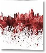 Dallas Skyline In Red Watercolor On White Background Metal Print