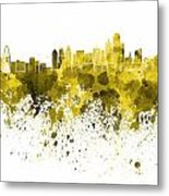 Dallas Skyline In Yellow Watercolor On White Background Metal Print