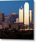 Dallas Skyline Sunset Metal Print