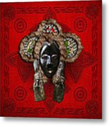 Dan Dean-gle Mask Of The Ivory Coast And Liberia On Red Leather Metal Print