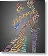 Dance Lovers Silhouettes Typography Metal Print