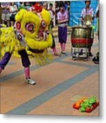 Dance Troupe Performs Chinese Lion Dance Singapore Metal Print