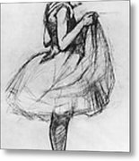 Dancer Adjusting Her Costume And Hitching Up Her Skirt Metal Print