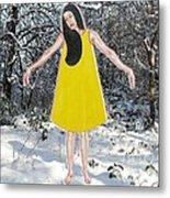Dancer In The Snow Metal Print