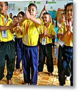 Dancing Kindergarten Students At Baan Konn Soong School In Sukhothai-thailand Metal Print