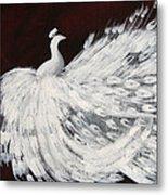 Dancing Peacock Burgundy Metal Print