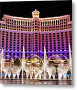 Dancing Waters - Bellagio Hotel And Casino At Night Metal Print