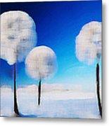 Dandelion Puffs In Winter Metal Print