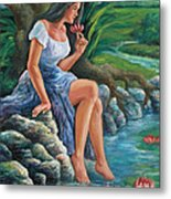 daragang magayon -beautiful lady in Mayon Metal Print