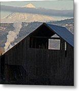 Dark Barn And Mt Mclaughlin Metal Print