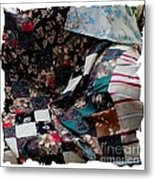Dark Colored Blocks Patchwork Quilt  Metal Print