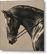 Dark Dressage Horse Aged Photo Fx Metal Print
