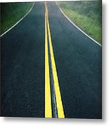 Dark Foggy Country Road Metal Print