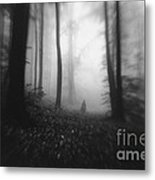 Dark Forest With Man Shadow Trough Trees Metal Print