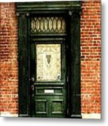 Dark Green Doorway Photograph Print Metal Print