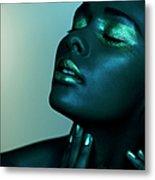 Dark Image Of Black Female Closed Eyes Metal Print