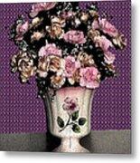 Dark Ink Vase And Flowers Metal Print