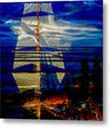 Dark Moonlight With Sails And Seagull Metal Print