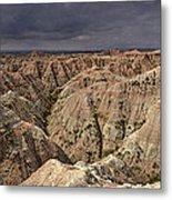 Dark Panorama Over The South Dakota Badlands Metal Print