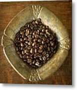 Dark Roast Coffee Beans And Antique Silver Metal Print