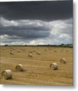 Dark Storm Clouds Over A Field With Hay Metal Print