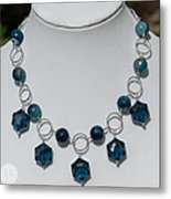 Dark Turquoise Crystal And Faceted Agate Necklace 3676 Metal Print