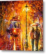 Date By The Trolley - Palette Knife Oil Painting On Canvas By Leonid Afremov Metal Print