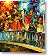 Date On The Bridge - Palette Knife Oil Painting On Canvas By Leonid Afremov Metal Print