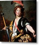 David With The Head Of Goliath, C.1636 Oil On Canvas Metal Print