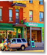 Davids Tea Room Rue St Viateur Next To The Bagel Shop Montreal Street Scene Art Carole Spandau   Metal Print