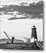 Davit And Lighthouse On A Breakwater Metal Print